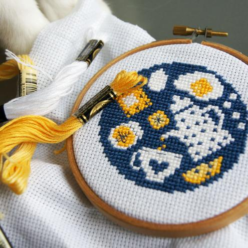 How wonderful to start the morning with a nice tasty and hearty breakfast. Beautiful stitching to start the day.