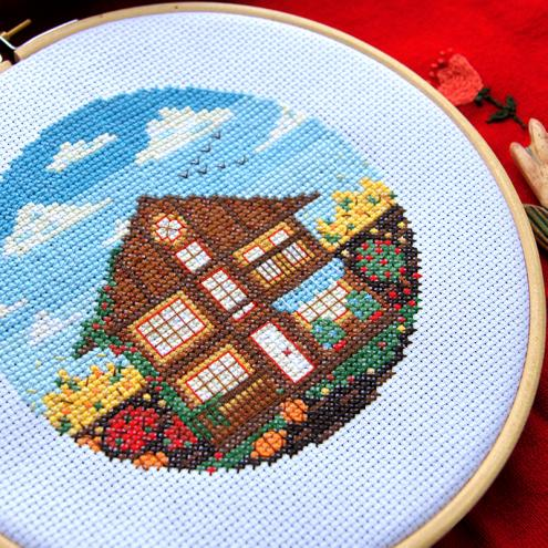Golden and bright autumn with its fresh wind and leaves fallen on the ground. Feel very cozy while stitching this scheme.